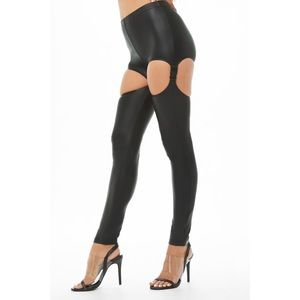 Cut out faux leather black leggings